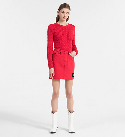 CALVIN KLEIN JEANS Pima Cotton Cable Sweater - TANGO RED - CALVIN KLEIN JEANS NEW IN - detail image 1