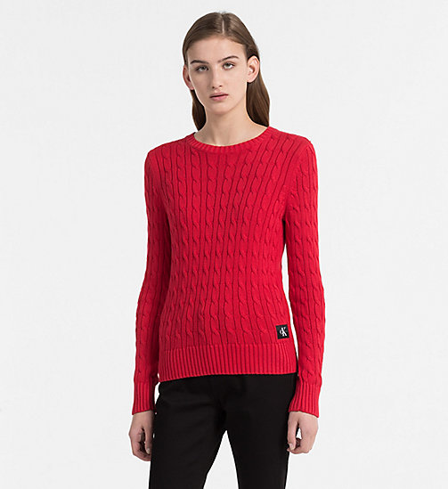 CALVIN KLEIN JEANS Pima Cotton Cable Sweater - TANGO RED - CALVIN KLEIN JEANS NEW IN - main image