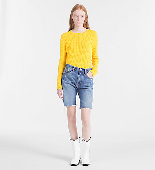 CALVIN KLEIN JEANS Pima Cotton Cable Jumper - SPECTRA YELLOW - CALVIN KLEIN JEANS NEW IN - detail image 1