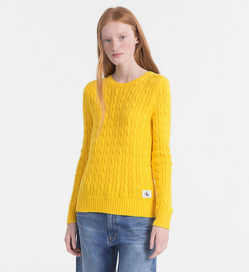 CALVIN KLEIN JEANS Pima Cotton Cable Sweater - SPECTRA YELLOW - CALVIN KLEIN JEANS NEW IN - main image