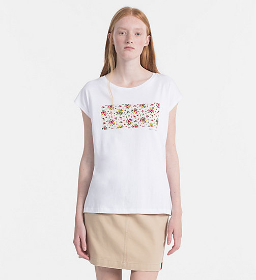 CALVIN KLEIN JEANS Cap-Sleeve Printed T-shirt - WHITE / AOP FLOWER 1 PEARLED IVORY - CALVIN KLEIN JEANS NEW IN - main image