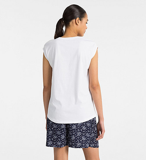 CALVIN KLEIN JEANS Cap-Sleeve Printed T-shirt - WHITE / AOP FLOWER PEACOAT COMBO - CALVIN KLEIN JEANS T-SHIRTS - detail image 1