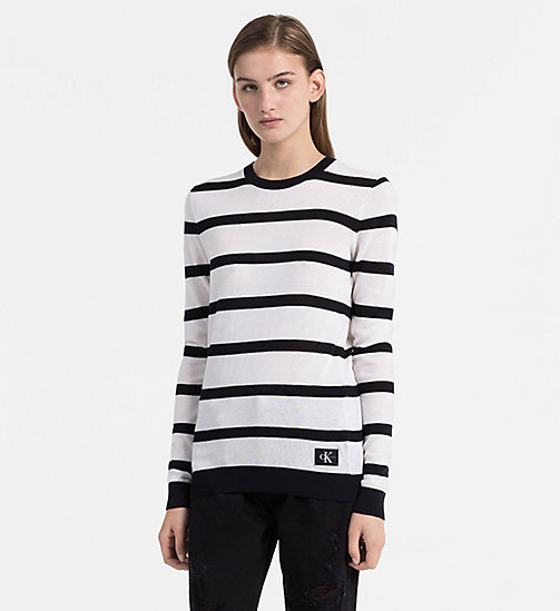 CALVIN KLEIN JEANS Cotton Wool Stripe Jumper - BRIGHT WHITE / CK BLACK - CALVIN KLEIN JEANS KNITWEAR - main image