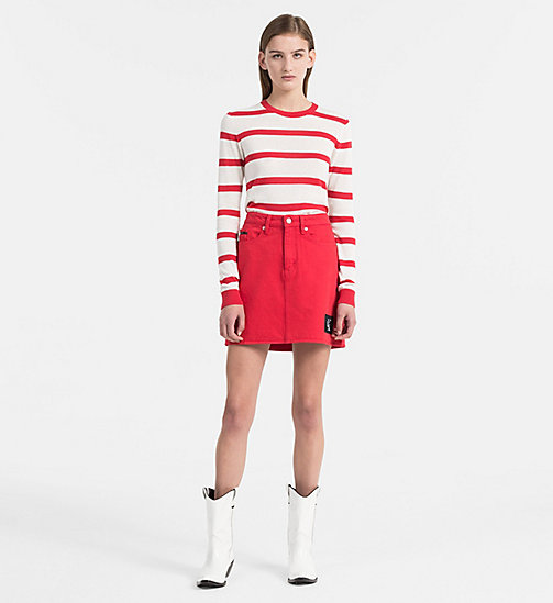 CALVIN KLEIN JEANS Cotton Wool Stripe Sweater - TANGO RED / EGRET - CALVIN KLEIN JEANS NEW IN - detail image 1