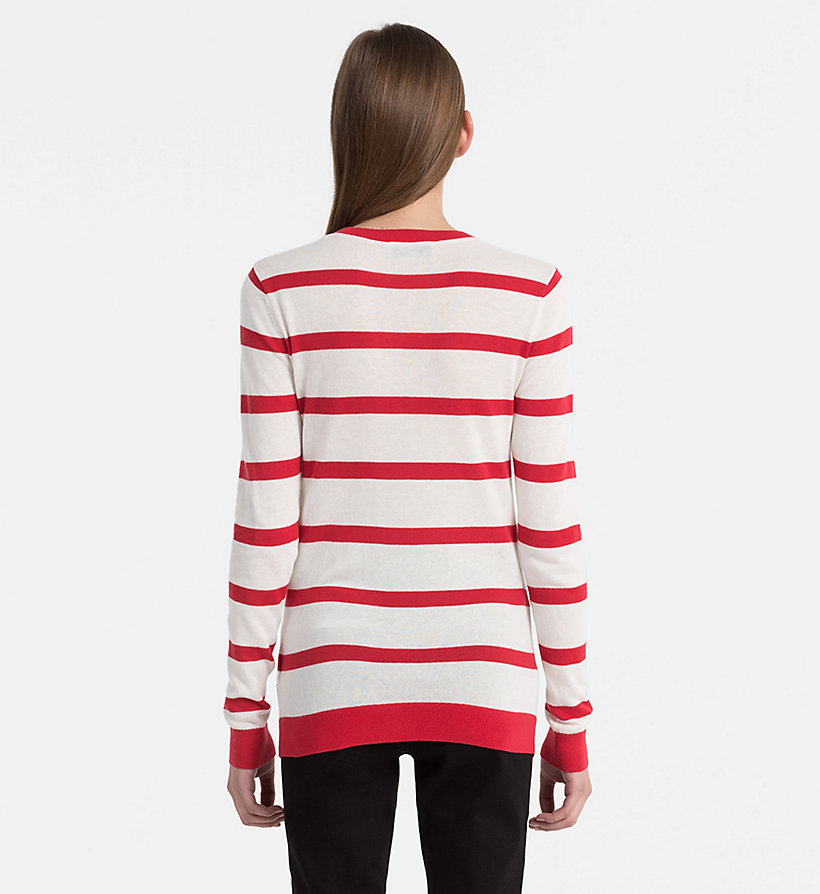 CALVIN KLEIN JEANS Cotton Wool Stripe Jumper - BRIGHT WHITE / CK BLACK - CALVIN KLEIN JEANS WOMEN - detail image 3