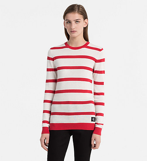 CALVIN KLEIN JEANS Cotton Wool Stripe Sweater - TANGO RED / EGRET - CALVIN KLEIN JEANS NEW IN - main image