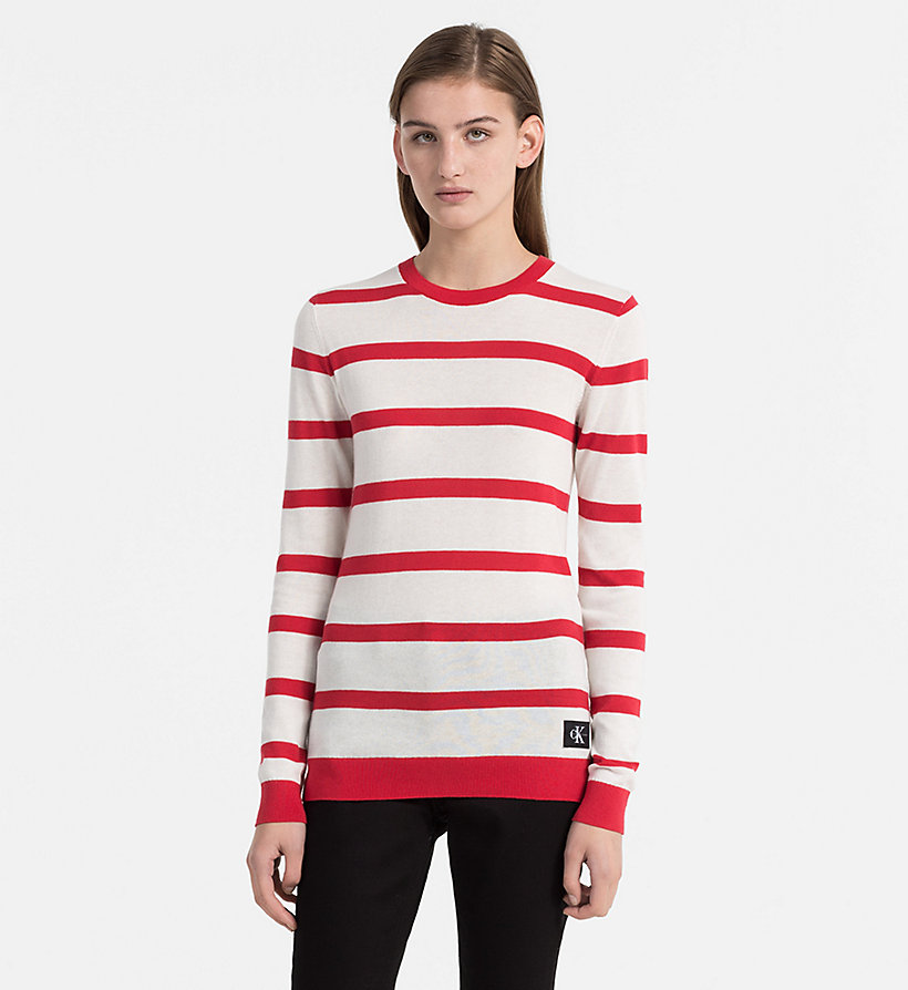 CALVIN KLEIN JEANS Cotton Wool Stripe Jumper - BRIGHT WHITE / CK BLACK - CALVIN KLEIN JEANS WOMEN - main image