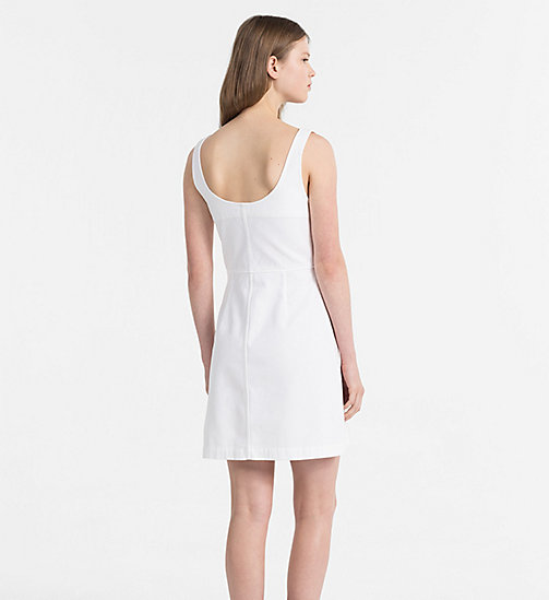 CALVIN KLEIN JEANS Cotton Twill Dress - BRIGHT WHITE - CALVIN KLEIN JEANS CLOTHES - detail image 1