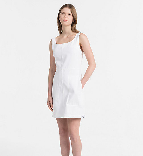 CALVIN KLEIN JEANS Cotton Twill Dress - BRIGHT WHITE - CALVIN KLEIN JEANS PACK YOUR BAG - main image