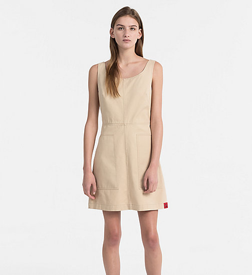 CALVIN KLEIN JEANS Cotton Twill Dress - SAFARI - CALVIN KLEIN JEANS NEW IN - main image