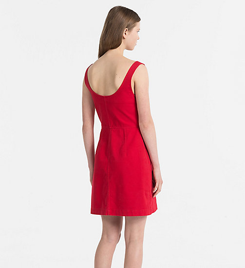 CALVIN KLEIN JEANS Cotton Twill Dress - TANGO RED - CALVIN KLEIN JEANS TRUE COLOURS - detail image 1