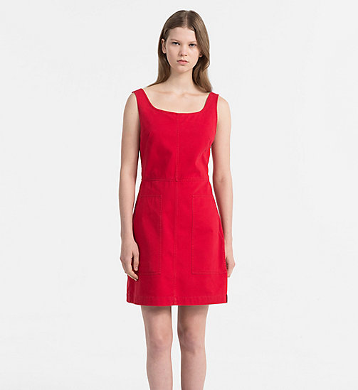 CALVIN KLEIN JEANS Cotton Twill Dress - TANGO RED - CALVIN KLEIN JEANS TRUE COLOURS - main image