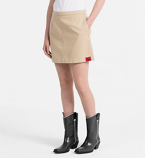 CALVIN KLEIN JEANS Canvas Mini Skirt - SAFARI - CALVIN KLEIN JEANS TRUE COLOURS - main image