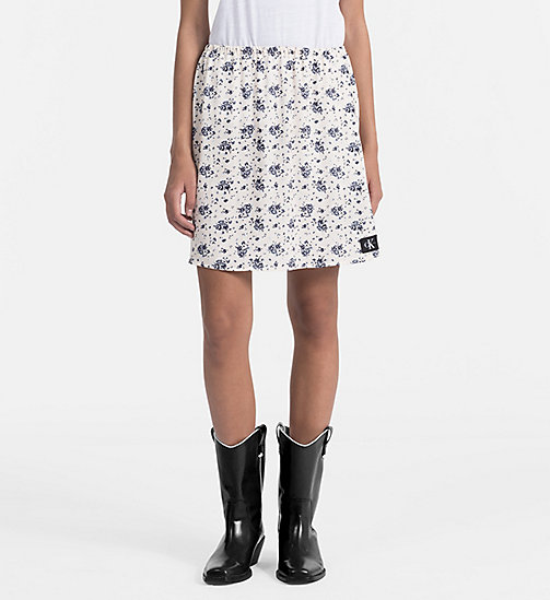CALVIN KLEIN JEANS Floral Printed Skirt - AOP FLOWER / PEARLED IVORY COMBO - CALVIN KLEIN JEANS SKIRTS - main image