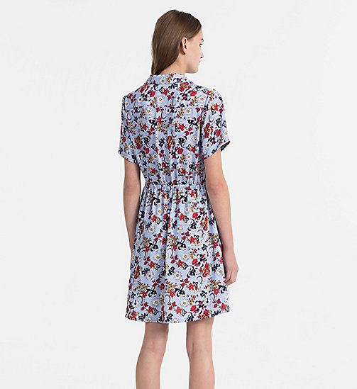 CALVIN KLEIN JEANS Crepe Floral Dress - AOP FLOWER/ CHAMBRAY BLUE COMBO - CALVIN KLEIN JEANS DRESSES & SKIRTS - detail image 1