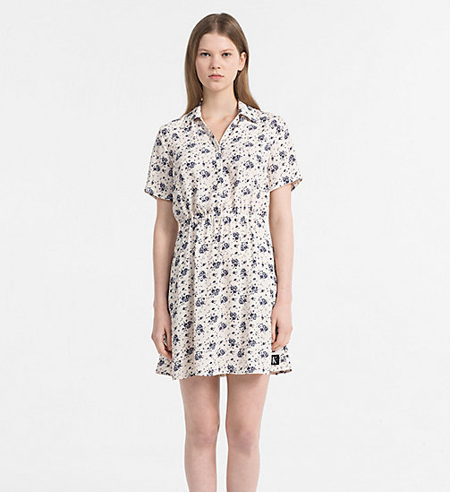 CALVIN KLEIN JEANS Crepe Floral Dress - AOP FLOWER / PEARLED IVORY COMBO - CALVIN KLEIN JEANS NEW IN - main image
