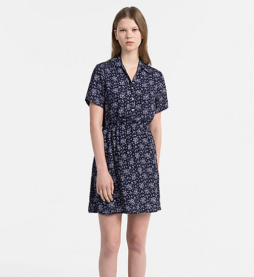 CALVIN KLEIN JEANS Crepe Floral Dress - AOP FLOWER / PEACOAT COMBO - CALVIN KLEIN JEANS NEW IN - main image