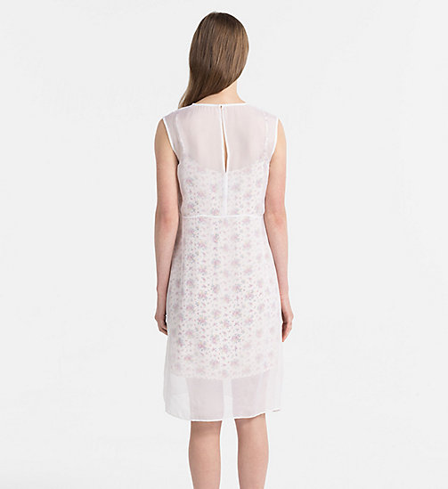CALVIN KLEIN JEANS Silk Double Layer Dress - AOP FLOWER 1 PEARLED IVORY - CALVIN KLEIN JEANS DRESSES - detail image 1