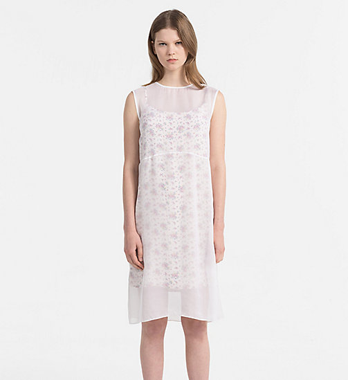 CALVIN KLEIN JEANS Silk Double Layer Dress - AOP FLOWER 1 PEARLED IVORY - CALVIN KLEIN JEANS DRESSES - main image