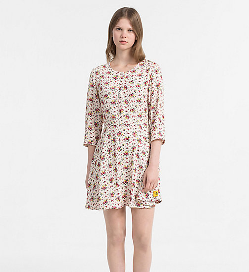 CALVIN KLEIN JEANS Crepe Floral Dress - AOP FLOWER 1 PEARLED IVORY - CALVIN KLEIN JEANS NEW IN - main image