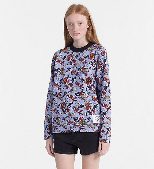 CALVIN KLEIN JEANS Floral Printed Sweatshirt - AOP FLOWER/ CHAMBRAY BLUE COMBO - CALVIN KLEIN JEANS SWEATSHIRTS - main image
