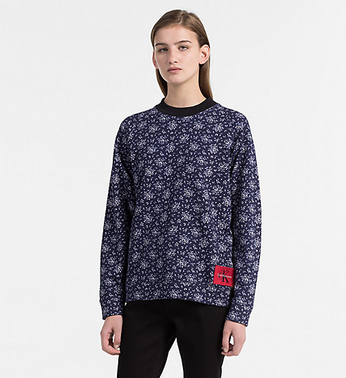 CALVIN KLEIN JEANS Floral Printed Sweatshirt - AOP FLOWER / PEACOAT COMBO - CALVIN KLEIN JEANS CLOTHES - main image