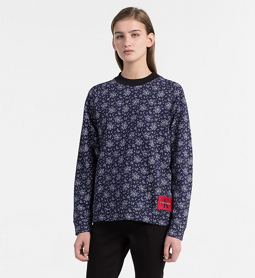 CALVIN KLEIN JEANS Floral Printed Sweatshirt - AOP FLOWER/ CHAMBRAY BLUE COMBO - CALVIN KLEIN JEANS UNDERWEAR - main image