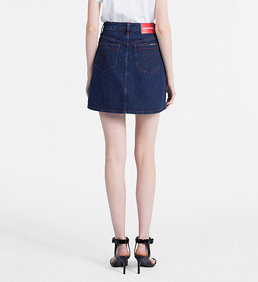 CALVIN KLEIN JEANS High Rise Denim Mini Skirt - DARK STONE RED STITCHING - CALVIN KLEIN JEANS SKIRTS - detail image 1