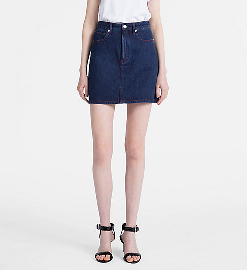 CALVIN KLEIN JEANS High Rise Denim Mini Skirt - DARK STONE RED STITCHING - CALVIN KLEIN JEANS NEW IN - main image