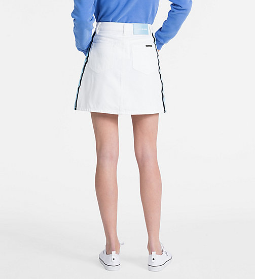 CALVIN KLEIN JEANS High Rise Side-Stripe Denim Mini Skirt - WHITE - CALVIN KLEIN JEANS LOGO SHOP - detail image 1