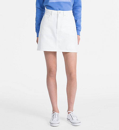 CALVIN KLEIN JEANS High Rise Side-Stripe Denim Mini Skirt - WHITE -  NEW IN - main image