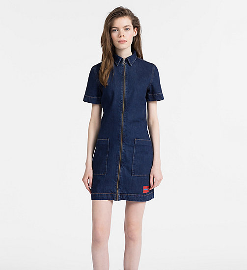 CALVIN KLEIN JEANS Denim Zip-Up Dress - DARK STONE - CALVIN KLEIN JEANS NEW ICONS - main image