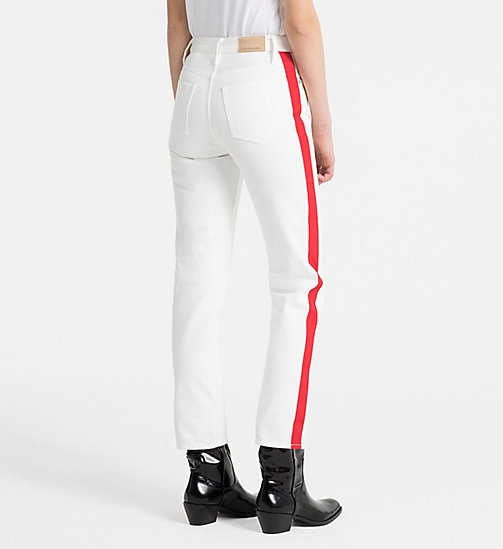 CALVIN KLEIN JEANS High Rise Straight Taped Jeans - GREAT WHITE/TANGO RED - CALVIN KLEIN JEANS TROUSERS - detail image 1