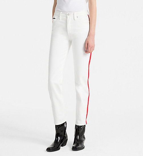 CALVIN KLEIN JEANS High Rise Straight Taped Jeans - GREAT WHITE/TANGO RED - CALVIN KLEIN JEANS TROUSERS - main image