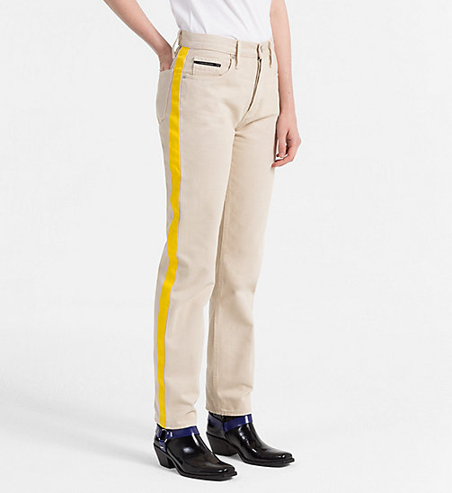CALVIN KLEIN JEANS High Rise Straight Taped Jeans - KHAKI/SPECTRE YELLOW - CALVIN KLEIN JEANS NEW IN - main image