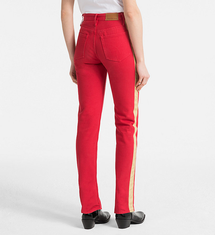 CALVIN KLEIN JEANS High Rise Straight Taped Jeans - GREAT WHITE/TANGO RED - CALVIN KLEIN JEANS WOMEN - detail image 1