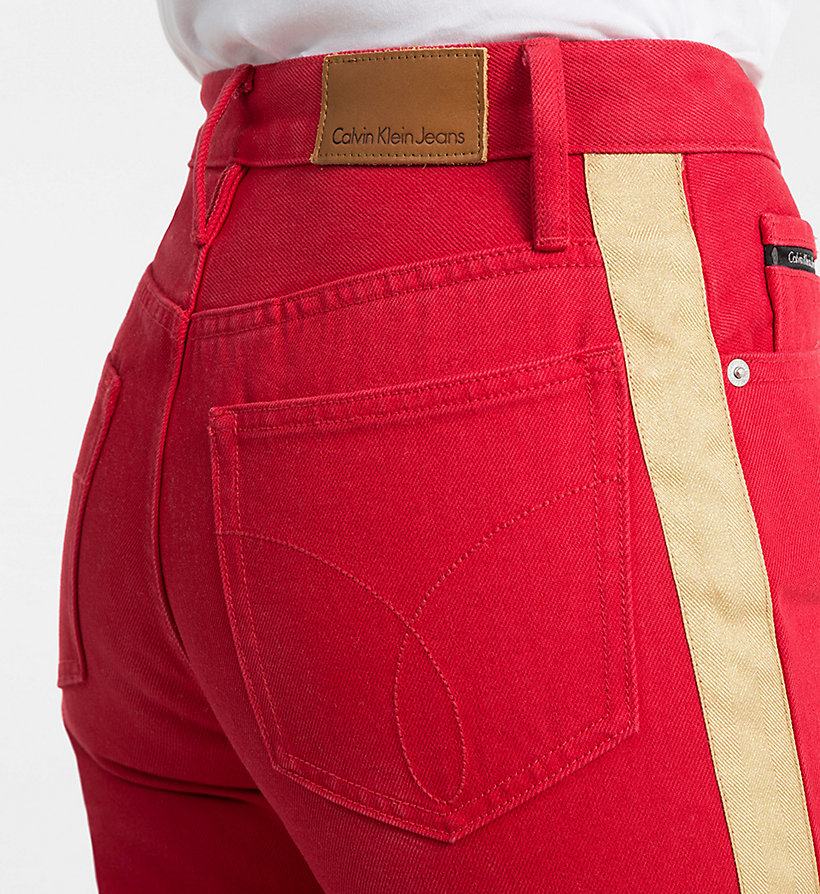 CALVIN KLEIN JEANS High Rise Straight Taped Jeans - GREAT WHITE/TANGO RED - CALVIN KLEIN JEANS WOMEN - detail image 2