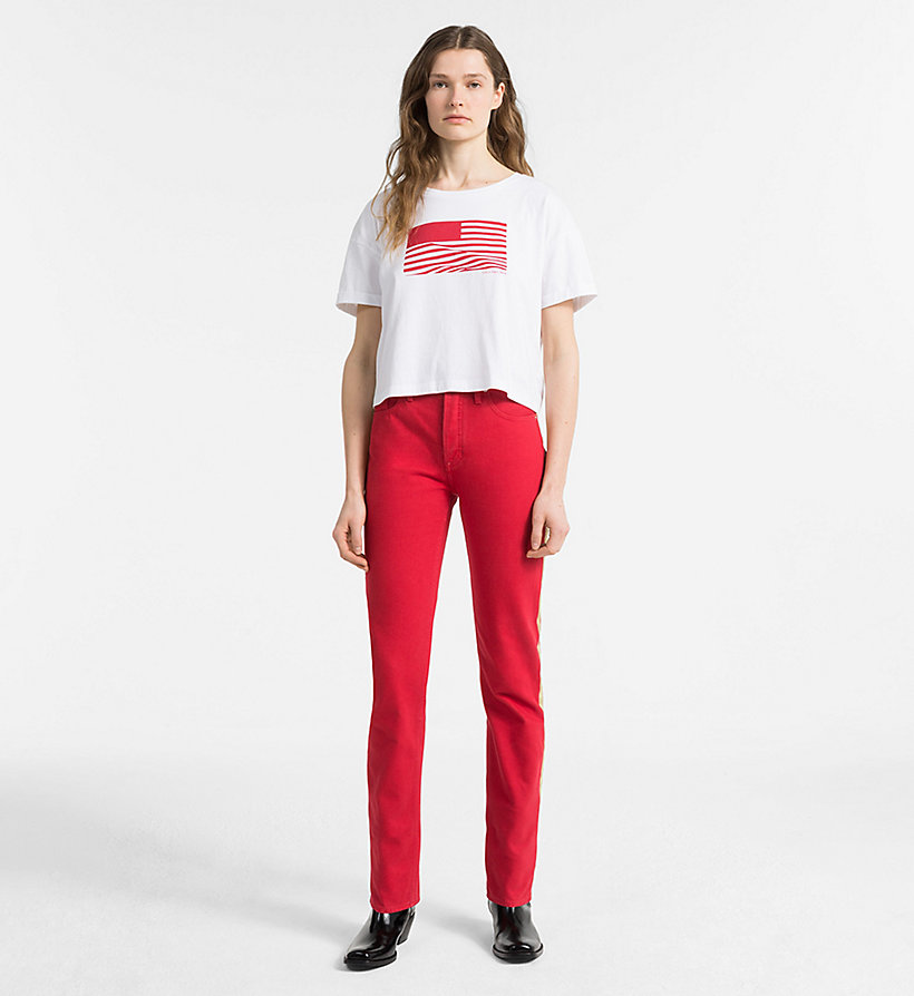 CALVIN KLEIN JEANS High Rise Straight Taped Jeans - GREAT WHITE/TANGO RED - CALVIN KLEIN JEANS WOMEN - detail image 3