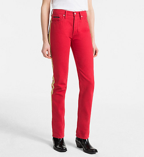 CALVIN KLEIN JEANS High Rise Straight Taped Jeans - TANGO RED/GOLD - CALVIN KLEIN JEANS TRUE COLOURS - main image