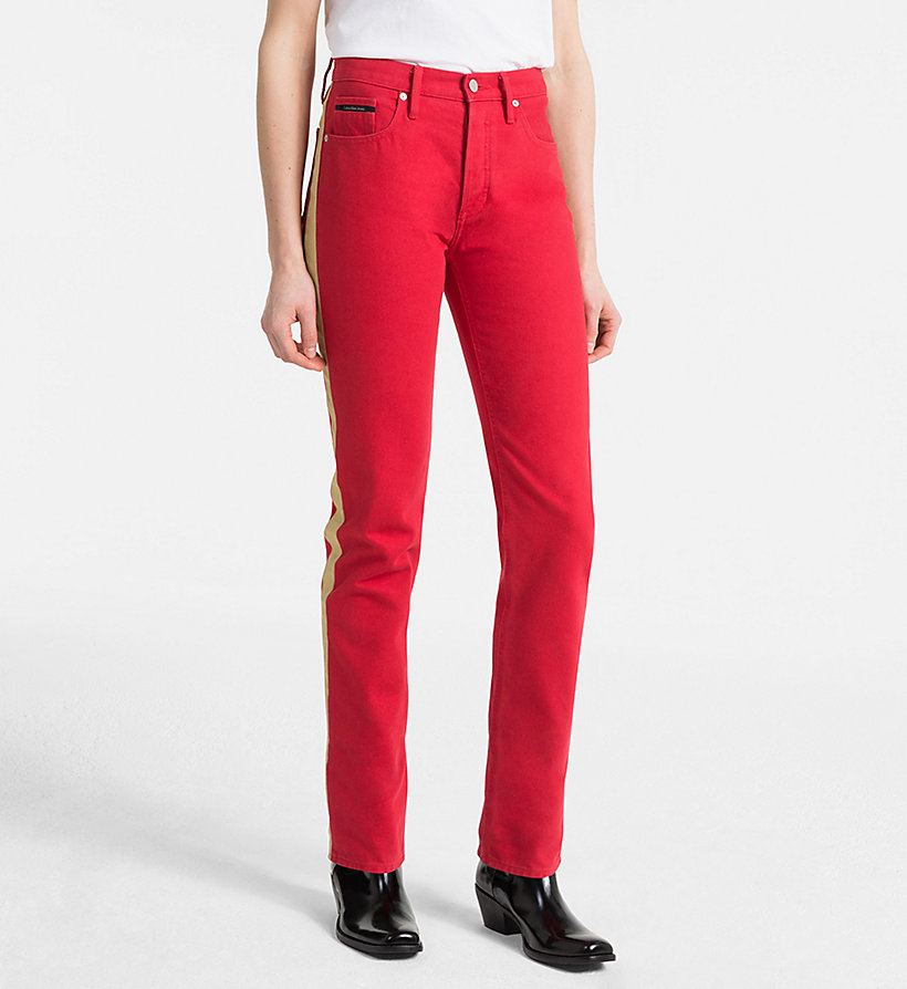 CALVIN KLEIN JEANS High Rise Straight Taped Jeans - GREAT WHITE/TANGO RED - CALVIN KLEIN JEANS WOMEN - main image