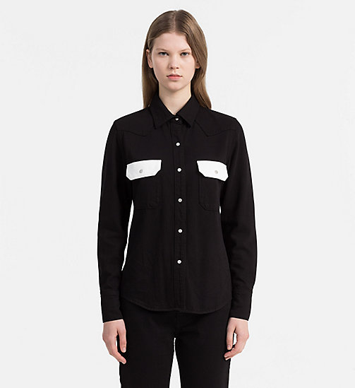 CALVIN KLEIN JEANS Contrast-Trimmed Western Shirt - BLACK/WHITE - CALVIN KLEIN JEANS NEW IN - main image