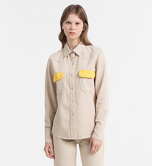 CALVIN KLEIN JEANS Contrast-Trimmed Western Shirt - KHAKI/SPECTRE YELLOW - CALVIN KLEIN JEANS NEW IN - main image