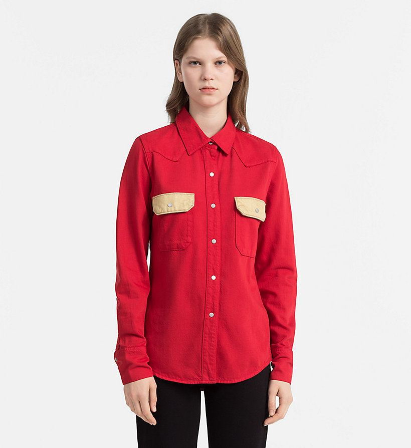 CALVIN KLEIN JEANS Contrast-Trimmed Western Shirt - GREAT WHITE/TANGO RED - CALVIN KLEIN JEANS WOMEN - main image