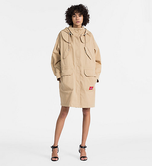CALVIN KLEIN JEANS Cotton Twill Padded Parka - TRAVERTINE - CALVIN KLEIN JEANS COATS - detail image 1