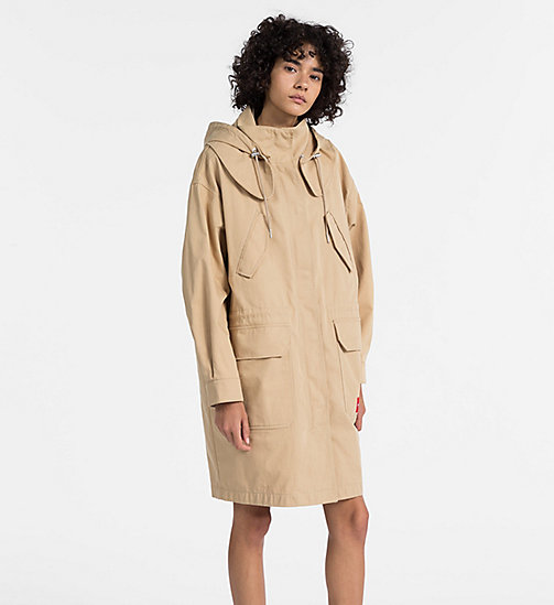CALVIN KLEIN JEANS Cotton Twill Padded Parka - TRAVERTINE - CALVIN KLEIN JEANS COATS - main image