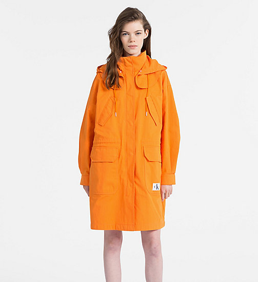 CALVIN KLEIN JEANS Cotton Twill Padded Parka - ORANGE TIGER 16-1358 TCX - CALVIN KLEIN JEANS COATS - main image