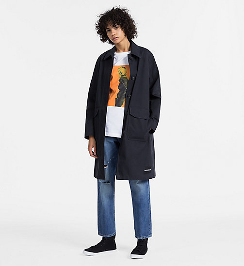 CALVIN KLEIN JEANS Long Cotton Twill Coat - CK BLACK - CALVIN KLEIN JEANS COATS - detail image 1