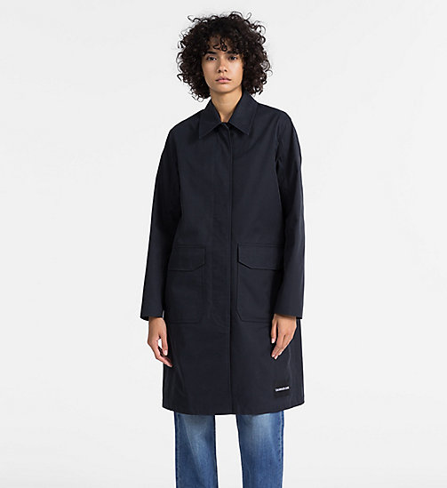 CALVIN KLEIN JEANS Long Cotton Twill Coat - CK BLACK - CALVIN KLEIN JEANS WOMEN - main image