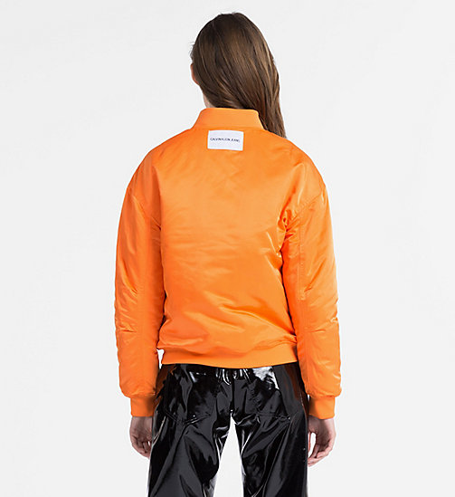 CALVIN KLEIN JEANS Padded Sateen Bomber Jacket - ORANGE TIGER 16-1358 TCX - CALVIN KLEIN JEANS NEW IN - detail image 1