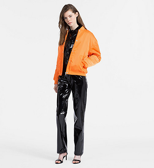 CALVIN KLEIN JEANS Padded Sateen Bomber Jacket - ORANGE TIGER 16-1358 TCX - CALVIN KLEIN JEANS WOMEN - detail image 1